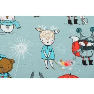 Jersey Bio Stenzo Zanimaux fond bleu noêl animaux couture enfant