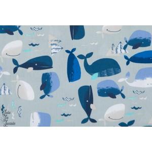 Popeline Baleine bleu mer couture enfant coton