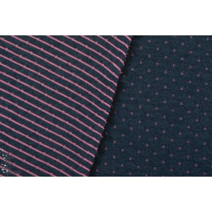 Sweat Matelassé QUILT Double Face marine - rose