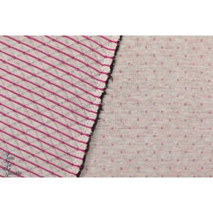 Sweat Matelassé QUILT double face  gris rose rayure croix