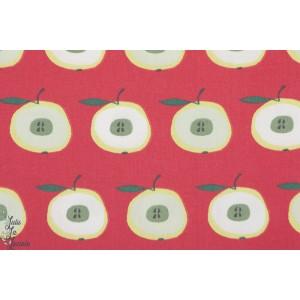 Popeline fine - Apfelgarten pomme vintage c pauli nature rétro rouge coton