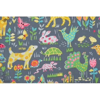Popeline Nos amis de la basse cours animaux pois rayures colorés michael Miller