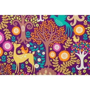 Popeline Fantasy Forest purple forêt biche violet michael miller
