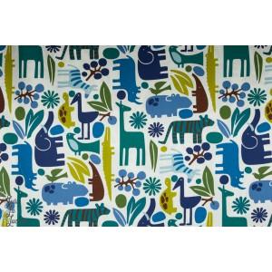 Popeline 2D Zoo animaux bleu vert garçon coton alexandre henry