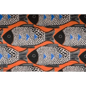 Popeline Fish Orange - Magic Forest - Cotton and Steel