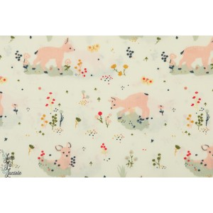 Popeline Bio Birch Little Deer petite biche faon coton birch fabric