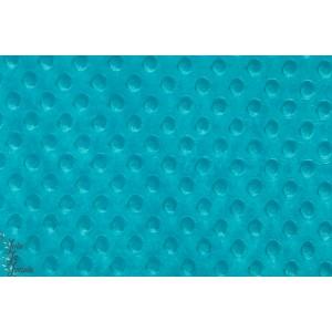 Minky polaire à pois , turquoise bleu