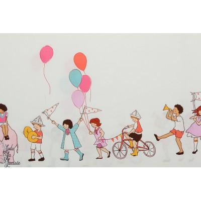 Popeline On Parade rose Par Michael Miller double bordure enfant animaux ballon