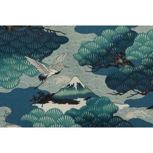 Tsuru to Matsu - bleu - de Kokka tissu japonais grue futji japon paysage
