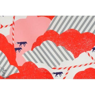 Tissu Laminé Kokka Hills in Red - Echino enduit imperméable renard montagne rouge graphique