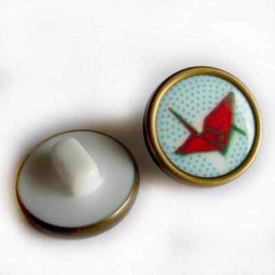 Bouton Origami madame casse bonbon rétro vintage résine métal grue oiseau japon