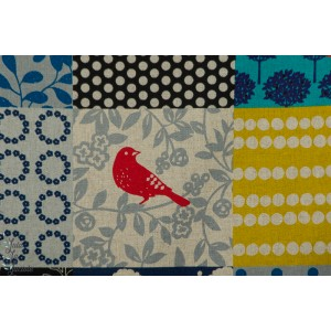 Echino Story bleu moutarde Kokka oiseau patch canvas toile