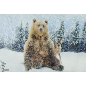 Panneau Jersey Stenzo Ours, lapin et faon sous la neige