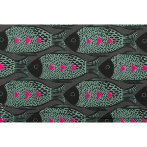 Popeline Cotton Steel Fish Charcoal poisson graphique rose magic forest
