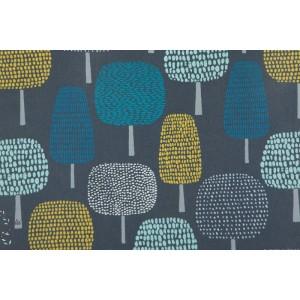 Tissu laminé Mat Glade CLoud9 - arbre graphique bleu
