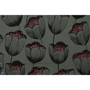 Viscose Cotton&steel Magic Tulips Grey