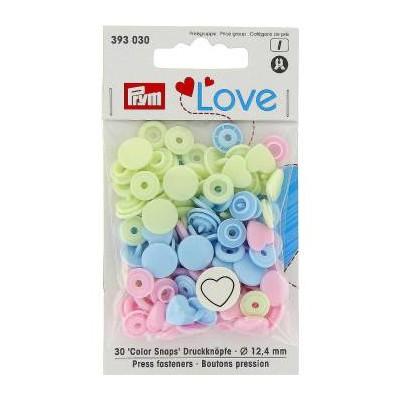 Bouton Pression coeur Prym Love rose bleu jaune pastel 393030