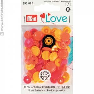 Bouton pression love Prym fleur jaune, orange,rouge