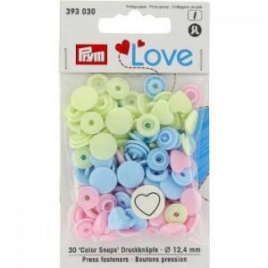 Bouton Pression Prym Love fleur rose bleu vert Vario 393081
