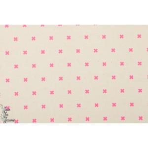 Popeline Cotton&Steel croix rose Fluo Flamengo