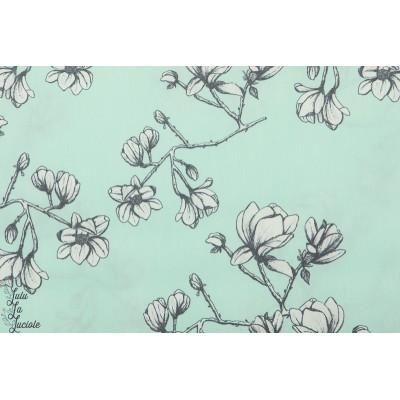 Popeline AGF Magnolia Study Fresh vert art gallery fleur