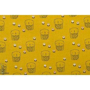 Popeline Dashwood AURA 1275 Mustard owl - Chouette