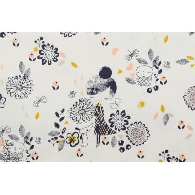 Popeline dashwood AURA 1272 - Girl petite fille violet parme autumn rain chien dog