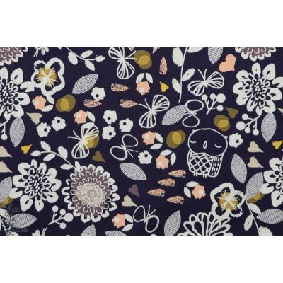 Popeline Dashwood AURA1273 - Owl & Flowers chouette et fleur autumn rain