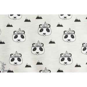 Tissu Sweat - Indien Panda écru