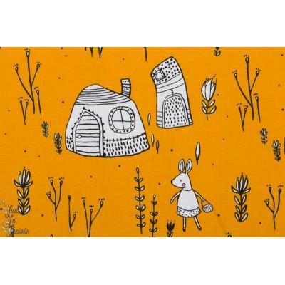 Jersey Bio Skogspromenad Lillestoff lapin promenade maison jaune enfant
