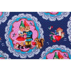 Jersey Gnomes  amoureux par Fiona Hewitt rétro vintage bleu nain jardin