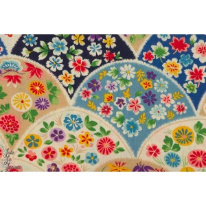 Popeline Flowery Fan touch of Blue Kokka