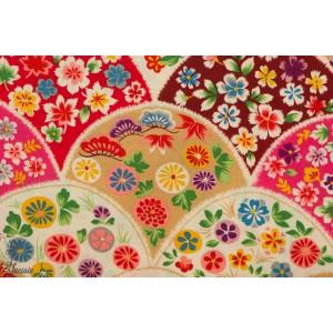 Popeline Flowery fan rouge et jaune Kokka