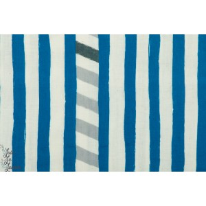 Double gaze Echino Line Bleu pour Kokka