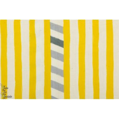 Double gaze Line Moutarde par Echino kokka grraphique jaune rayure coton