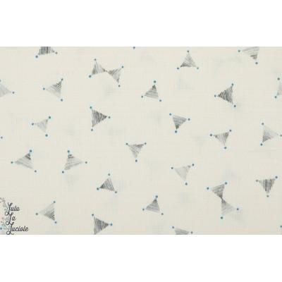 Coton Lin Jolis petits triangles gris et points bleu sur fond blanc -Kokka