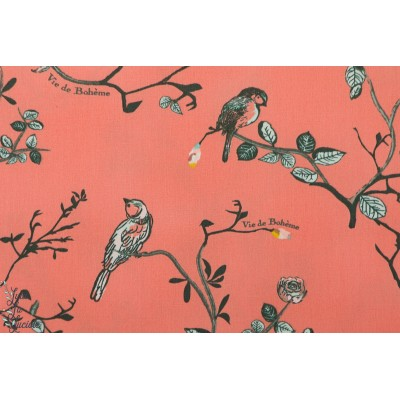 Popeline AGF Vie de Bohéme Sunset rose oiseau