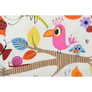 Popeline Just Hanging by Alexander henry coton oiseau jungle singe animaux couleur enfant