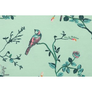 Jersey AGF Vie de Bohème Sunrise oiseau bleu femme couture
