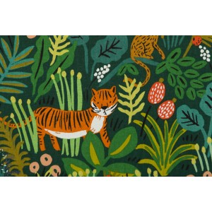 Canvas Jungle Hunter cotton and Steel tigre félin anilaux jungle vert enfant