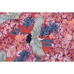 Jersey /viscose grue rouge femme paysage rose couture mode japon