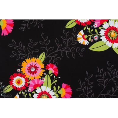 jersey bio Letizia Noir Lillestoff fleur couleur femme mode