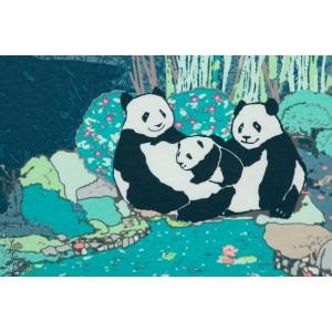Jersey AGF Pandagarden Naptime jardin japon panda forêt art gallery