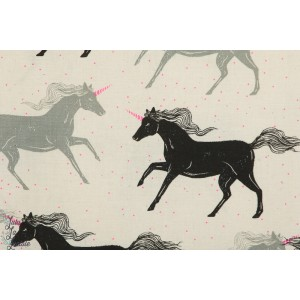 Popeline Unicorn en noir Cotton steel - licorne
