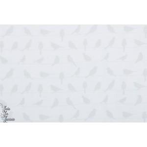 Popeline Vanilla Icing graphique oiseau léger blanc doux