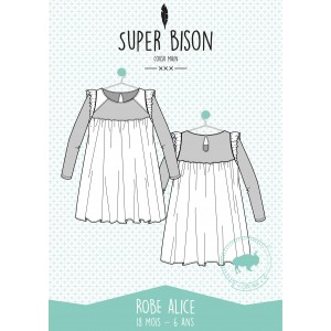 Patron couture  robe  SUPER BISON ALICE , 18 mois / 6 ans