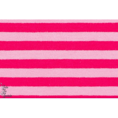 Jersey Bio Rayé rose/framboise, GOTS-certifié, Lillestoff.
