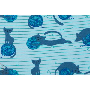 jersey bio Kitty Play chat pelote de laine stoffonkel bleu