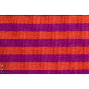 Jersey Bio Rayé orange/Lilas, GOTS-certifié, Lillestoff.