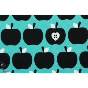Sweat Bio Apfelherz turquoise stoffonkel vintage rétro pomme aple bleu